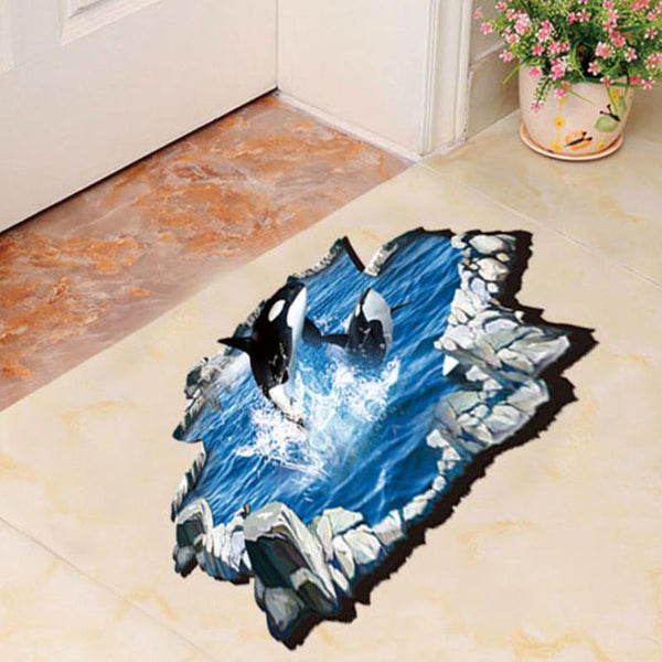 3D DIY Orca Floor Decal