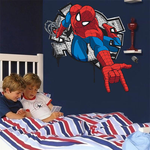 3D Effect Mini Spiderman Cartoon Wall Decal