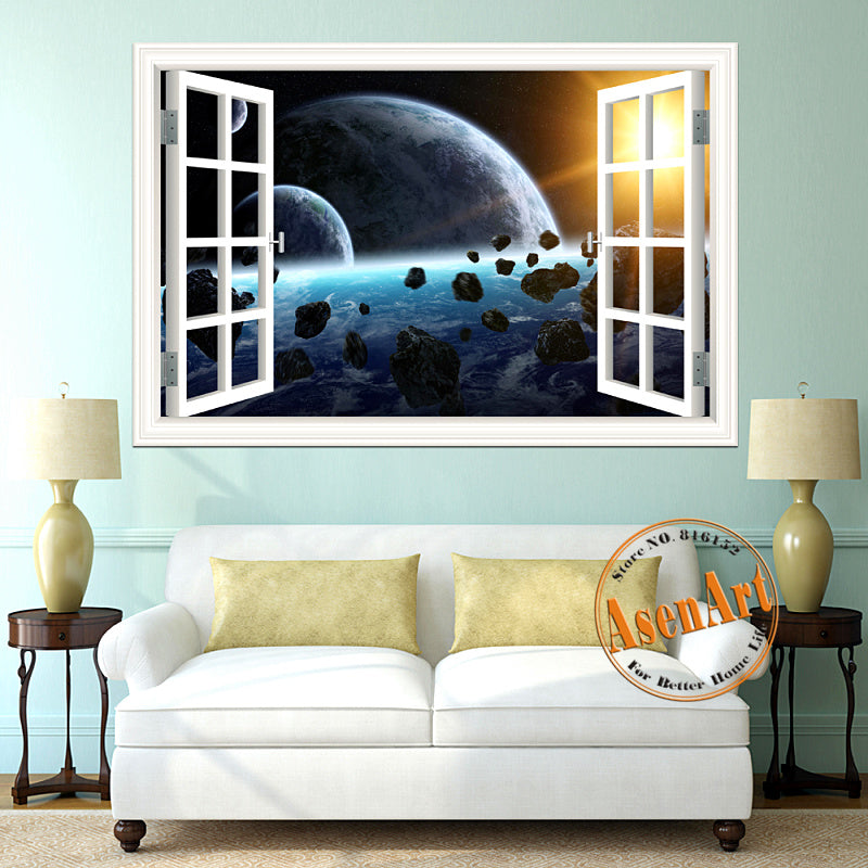 scenic outer space window view wall decals - the decal house