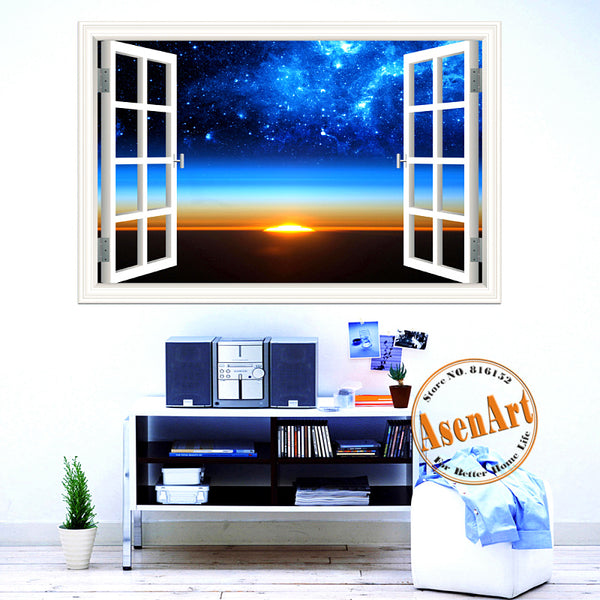 Scenic Outer Space Window View Wall Decals