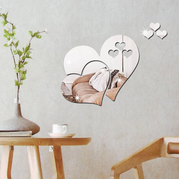 3D Mirror Hearts Decals