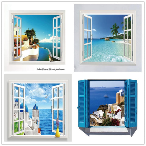 3D Beach Sea Window Scenery Wall Decals