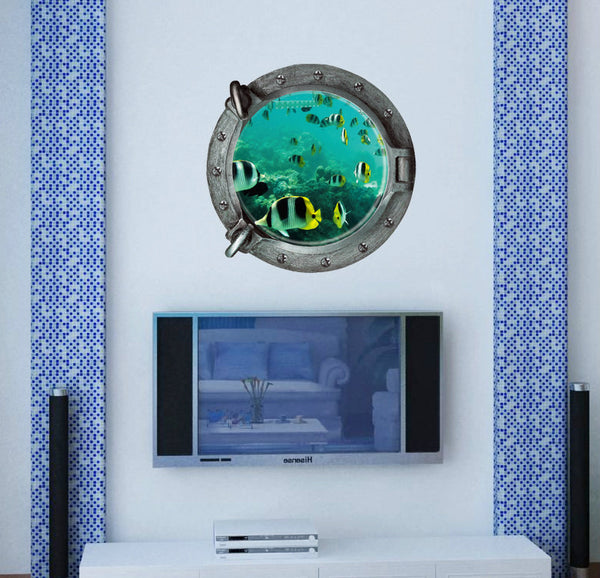 3D Underwater Window Wall Decal