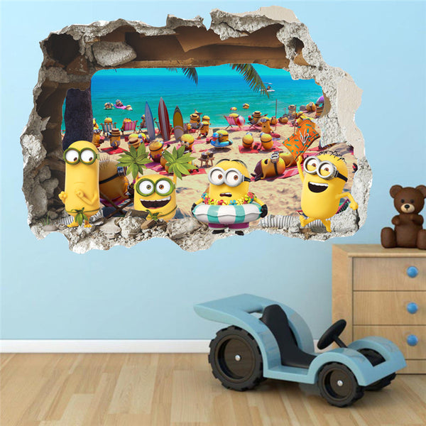 3D Minions Beach Wall Decal
