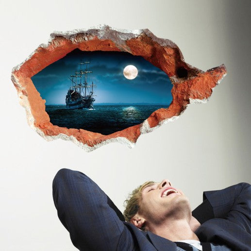 3D Amazing Pirate Ship Breaking Through Wall Decal