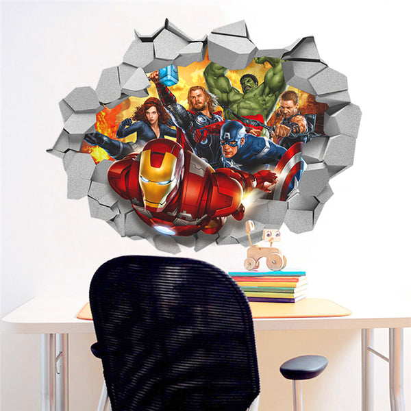 3D Avengers Through  Wall Decal