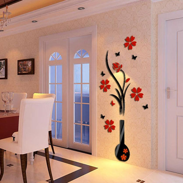 3D Romantic Rose Flower Wall Decals - LIMITED EDITION