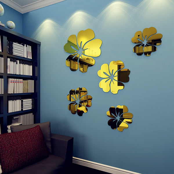 Amazing 5 Piece Reflective Flower Wall Decals