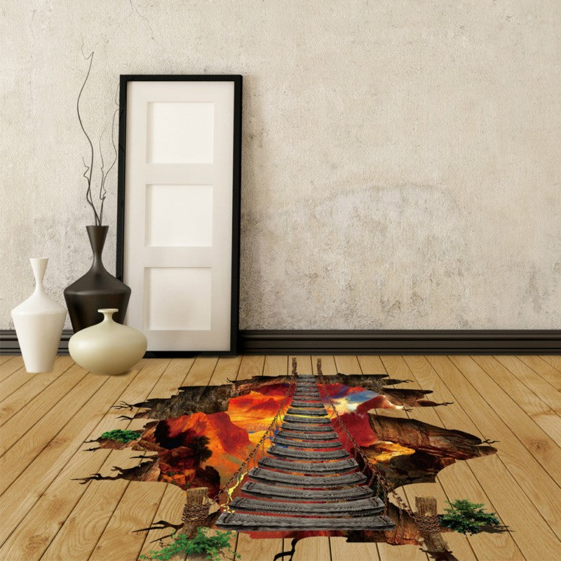 Cool 3D Volcano Chain Bridge Floor Decal