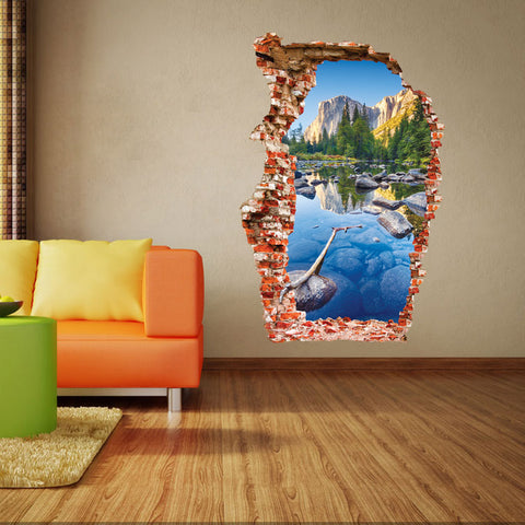 3D Colorful Pond Mountain Scene Broken Wall Decal