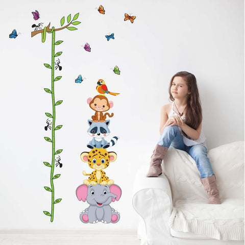 Cute Animals Stack Height Measure Wall Decal