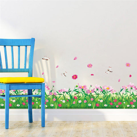 Colorful Flowers & Dragonflies Wall Decoration