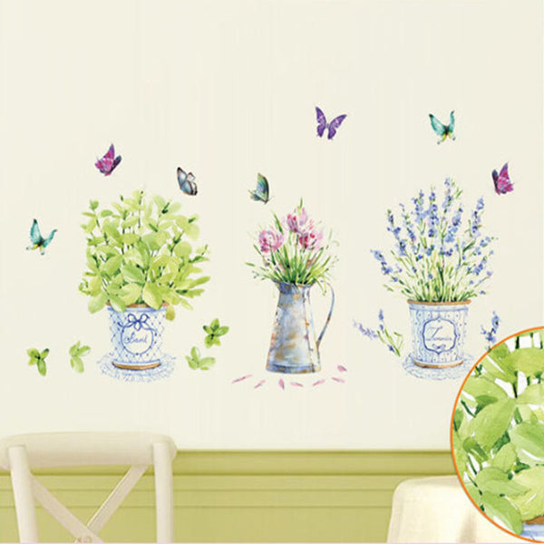 Elegant Flower Pot Butterfly Wall Decor