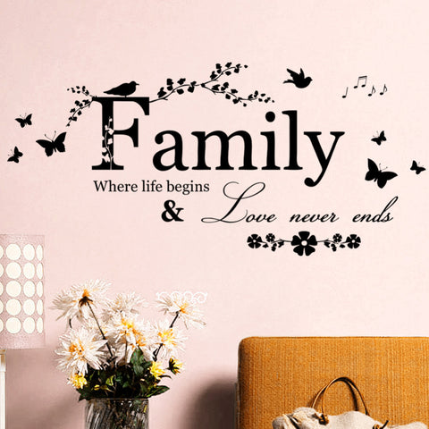 Family Love Never Ends Quote Decal