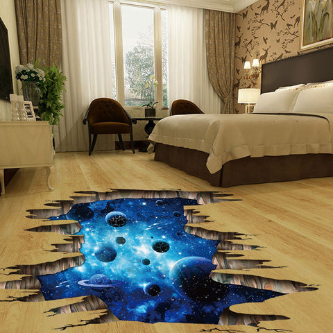 3D Cosmic Space Galaxy Floor Decal