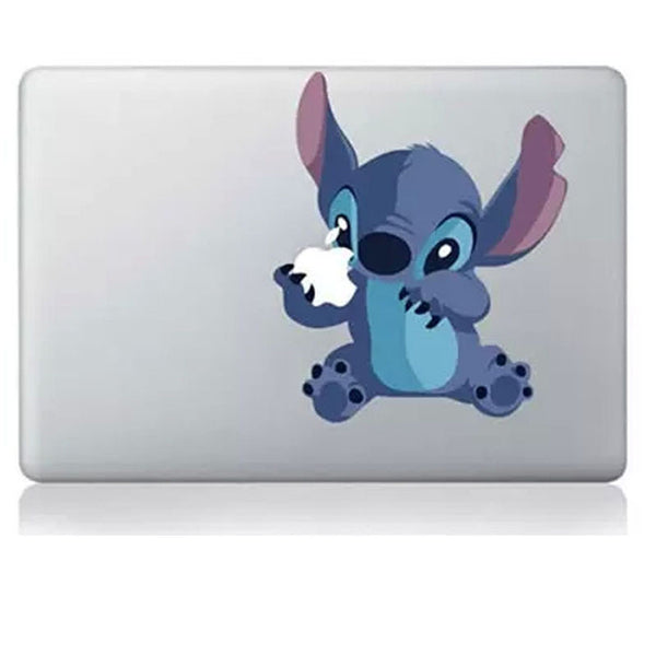 Cute Stitch Holding Apple MacBook Decal
