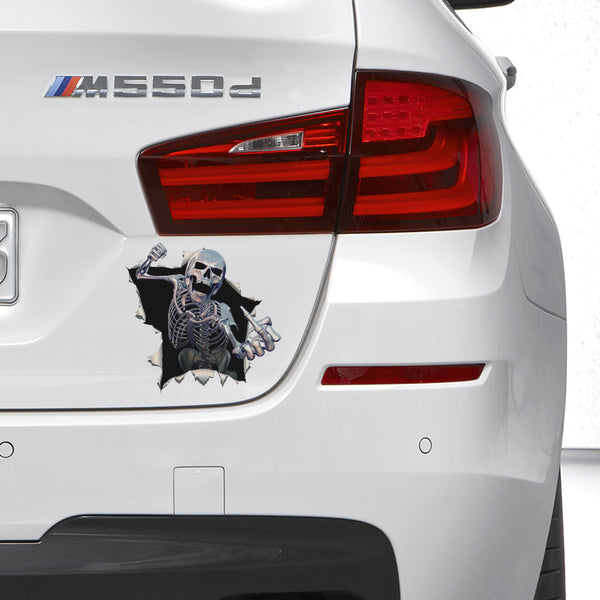 Thrilling Skeleton Busting Out Car Decal