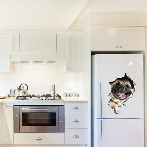 3D Pug/Cat Coming Through Wall Decal