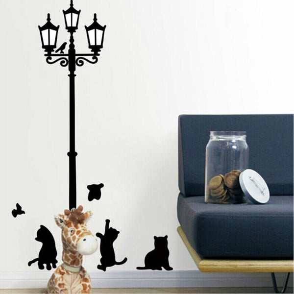 Vintage Street Lamp With Playful Cats And Birds Wall Mural