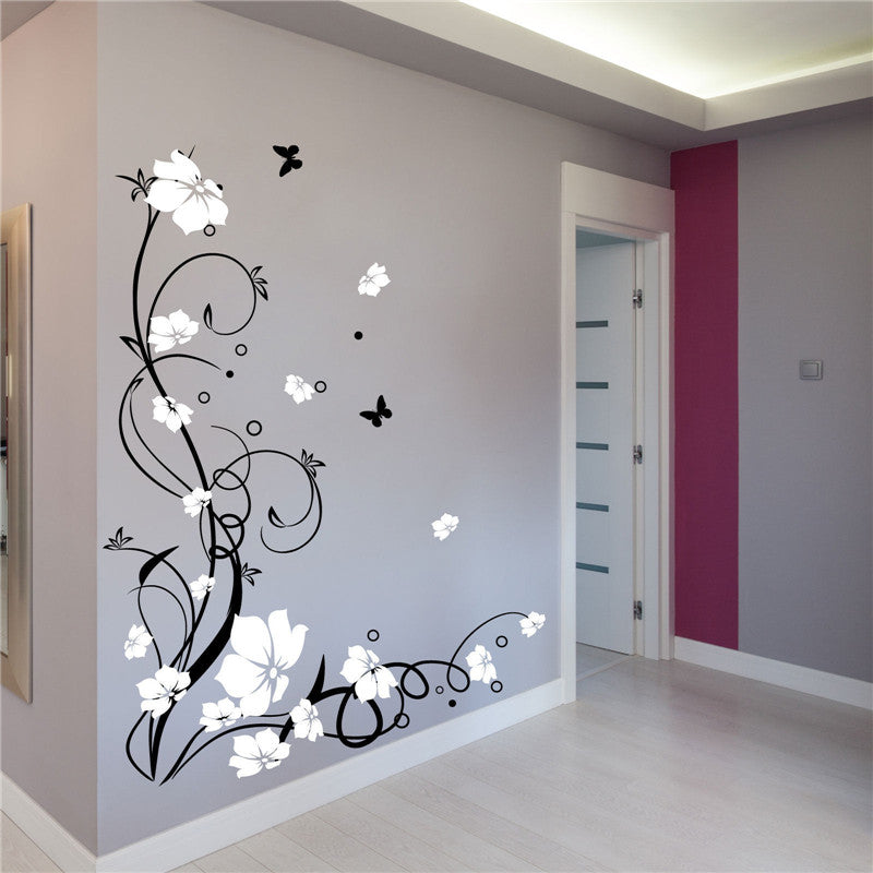 Large Butterfly Vine Flowers Butterflies Wall Decal ...