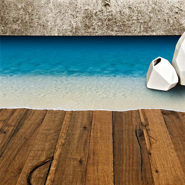 New  3D Beach  Floor Mural Decal