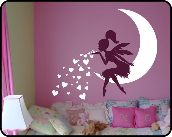 Lovely Fairy On Moon  Wall Decal
