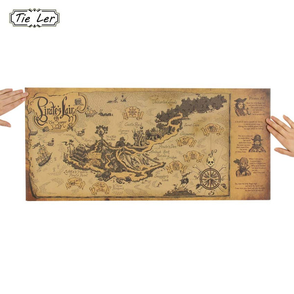 Retro Pirate World Map Wall Decal