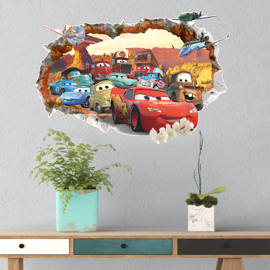 3d disney pixar 39 s cars wall decals the decal house for Disney pixar cars wall mural