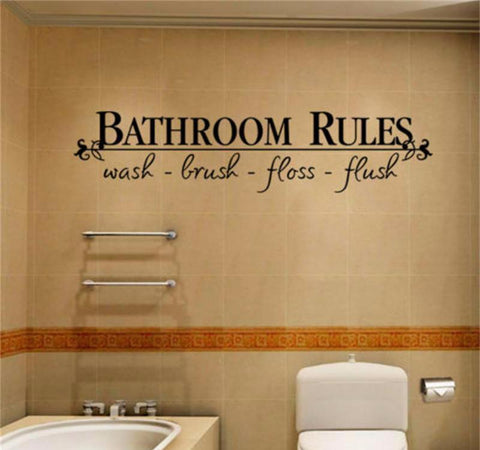 Bathroom Rules Quote Decal