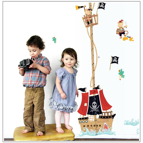 Cartoon Pirate Ship Growth Chart Wall Decal