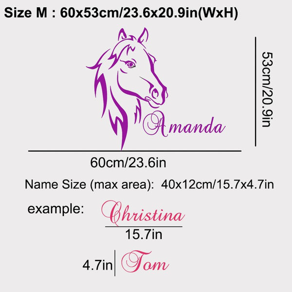 Beautiful Personalized Horse Wall Decal