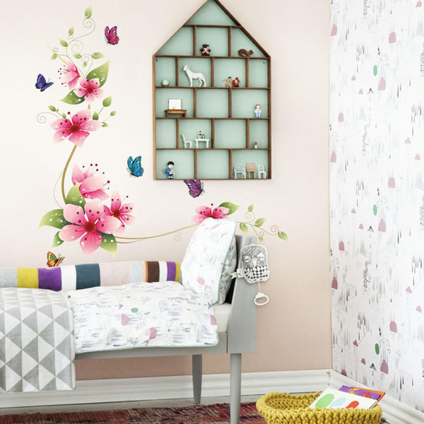 3D Flower And Butterfly Wall Decal