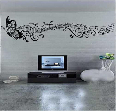 Elegant Butterfly Music Wall Decal