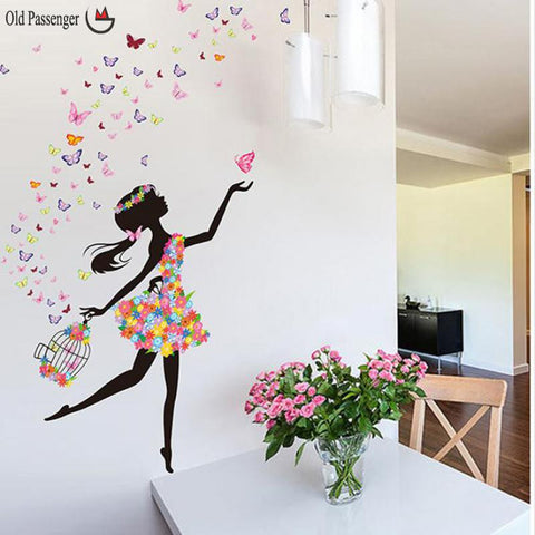 Pretty 3D Girl Fairy & Flowers Wall Mural