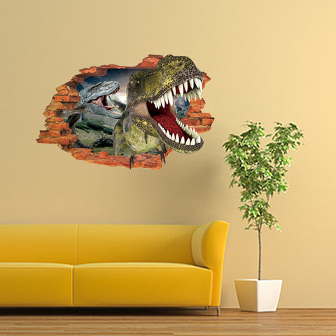 3D Broken Wall Dino Decal