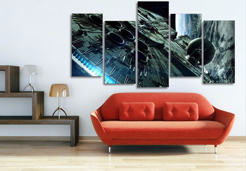 Amazing 5 Piece Millenium Falcon Canvas Art