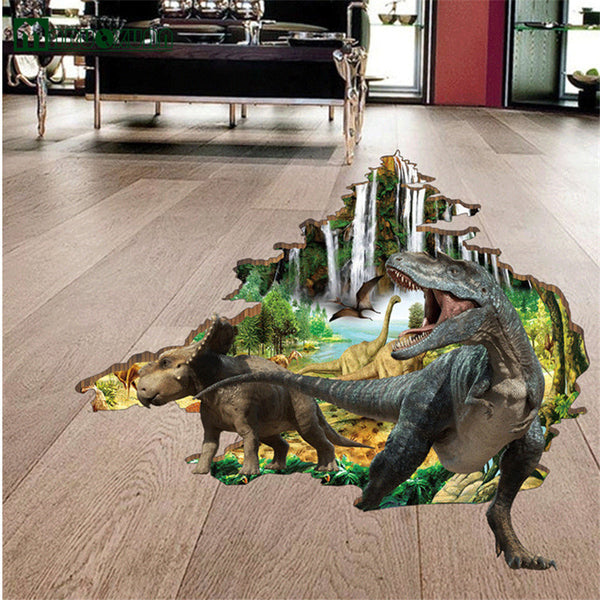 3D Chilling Dino Floor Decal