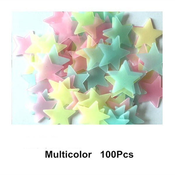 3D Glowing Star Stickers - 100 Pieces
