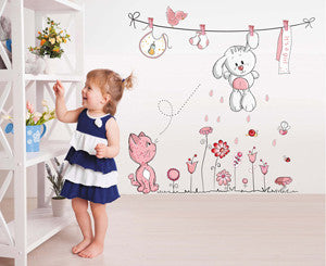 Pink Cartoon Cat Rabbit Flower Teddy Bear Wall Decal