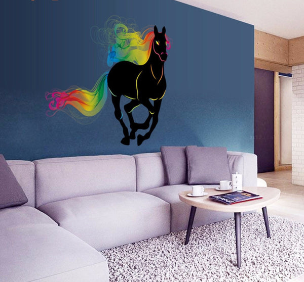 3D Majestic Black Rainbow Horse Wall Decal