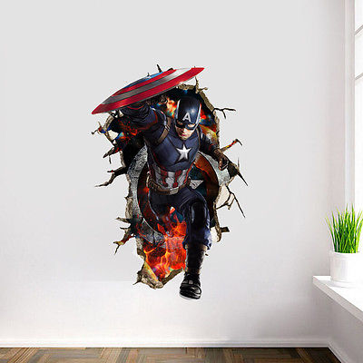 3D Captain America Wall Decal