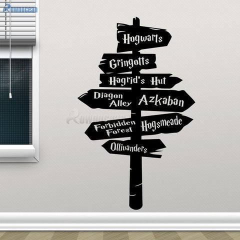 Amazing Hogwarts Road Sign Decal