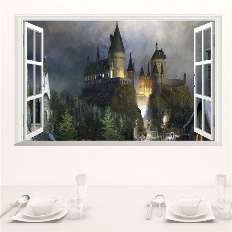 Magic 3D Window Hogwarts Decal