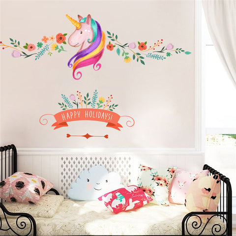 Colorful Flower Unicorn Wall Art