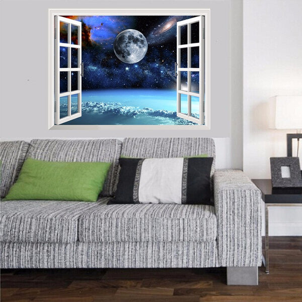 3D Outer Space Window Wall Decals