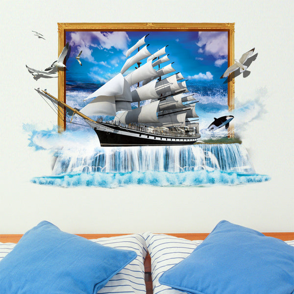 3D Sail Boat Wall Decal