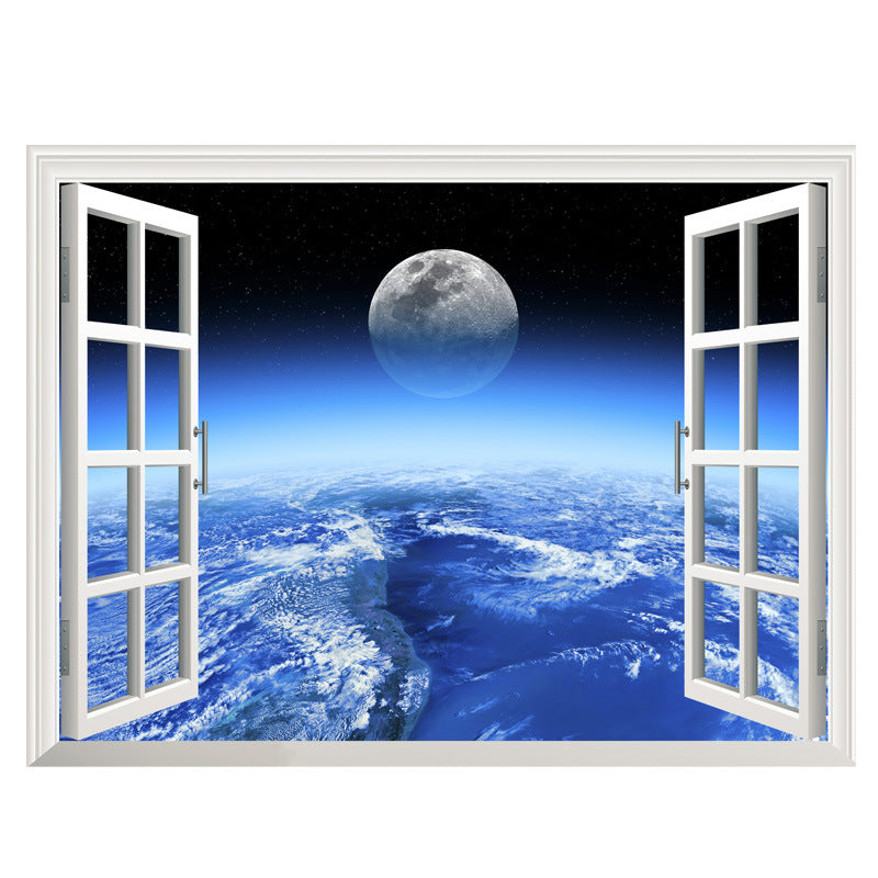 3D Outer Space Window Wall Decals ...