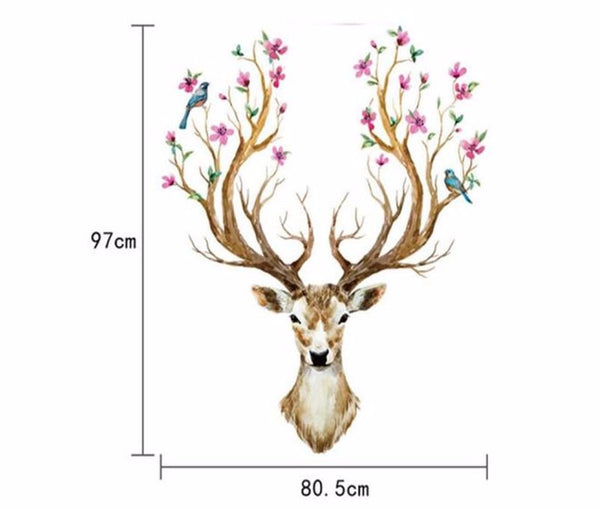 Beautiful 3D Plum Flower Deer Wall Decal