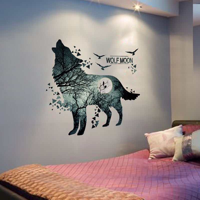 beautiful diy wolf moon wall decal – the decal house