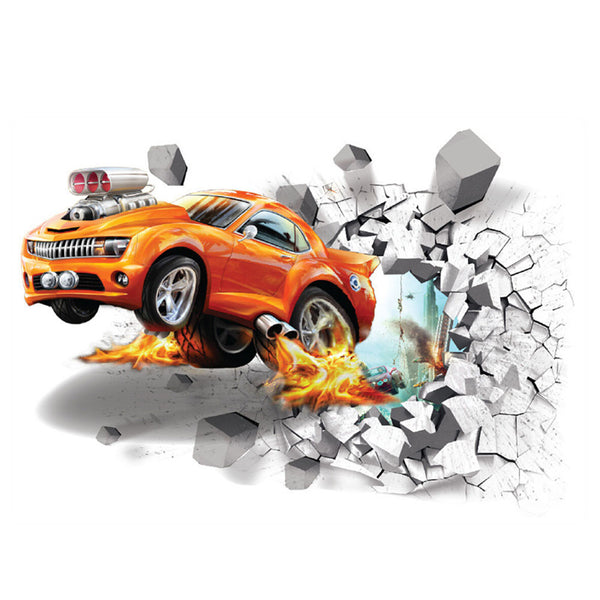 3D Through The Brick Car Wall Decal